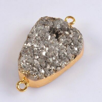 Uneven Natural Agate Titanium Druzy Connector Gold Plated B062767