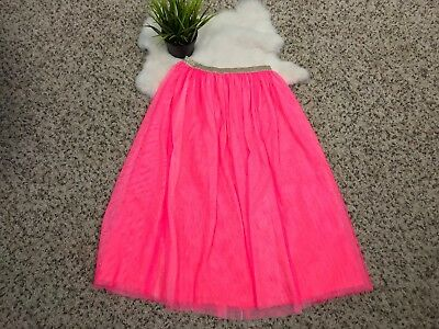 Cat & Jack Girl Lace Tulle Maxi Skirt Lace Glitter Pink Lined Sz S (6/6X)