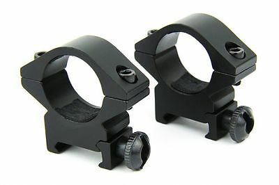 "Low Profile 1"" inch Scope Ring with QD 20mm Picatinny Weaver Rail Mount Hunting"
