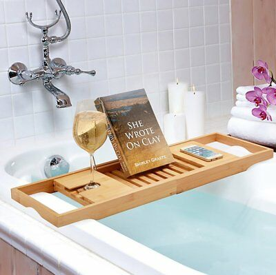 Wooden Bamboo Bath Caddy Tray Bathtub Rack Shelf Storage Wine Glass Holder New