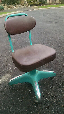 Vintage Hamilton Cosco Steel Industrial Office Chair Casters New Vinyl Covering