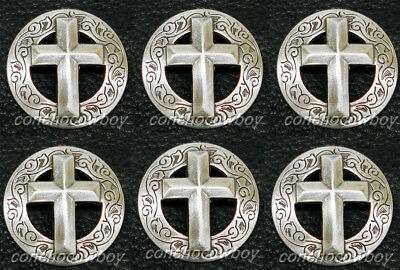 "Set of 6 WESTERN HORSE SADDLE TACK ANTIQUE CROSS CONCHOS 1-1/8"" (SCREW BACK)"