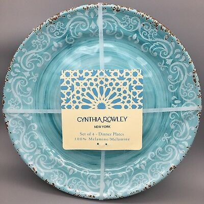 CYNTHIA ROWLEY MELAMINE DINNER PLATES HIBISCUS SALAD APPETIZER medallion SKULLS