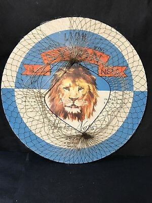 Vintage LION NYLON HAIR NETS On Round Cardboard Printed Advertising, England