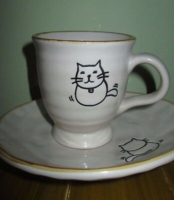 Adorable! Child's Cup and Plate with Front and Back Cat Kitten Sturdy Stoneware