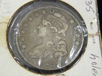 1835 CAPPED BUST HALF DOLLAR 50C, OVERTON 109 - R2, VF/XF but HOLED