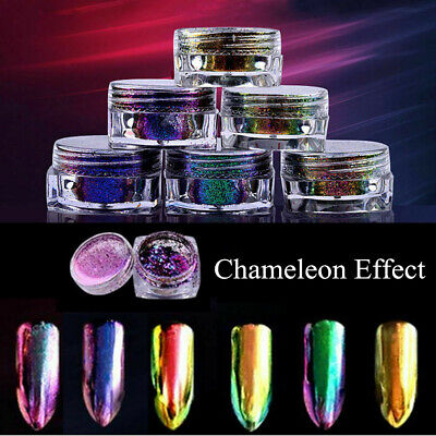 Chameleon Mirror Chrome Effect Nail Art Powder Manicure Pigment Glitter Tips DIY