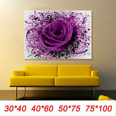 MODERN LARGE PURPLE ROSE FLOWERS Canvas Print Pictures Wall Art Unframed Prints