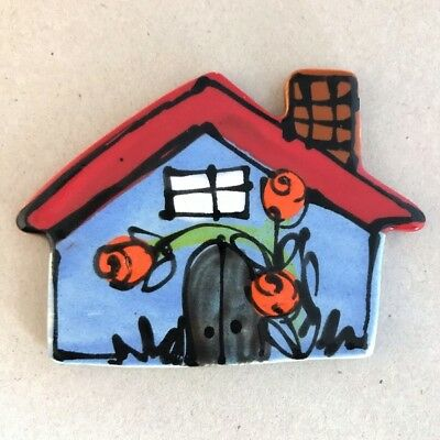 CERAMIC HOUSE with chimney - Blue - 70x95mm ~ Ceramic Mosaic Tiles
