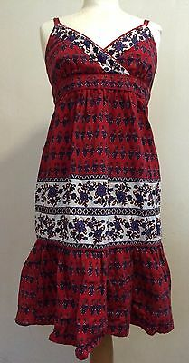 Vintage Style Red Paisley Print Boho Dress PERFECTLY PETITE Retro 1970s