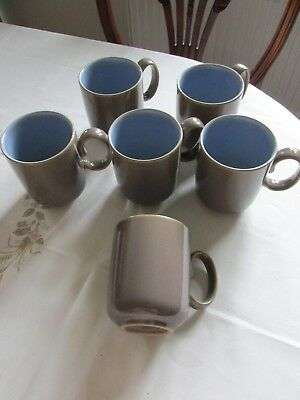 Denby Mugs 6 Brown With Blue Interior Good Condition