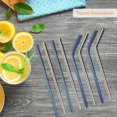 8PCs New Stainless Steel Drinking Straws Reusable Straws + 2pcs Cleaner Brushes