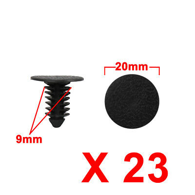 23Pcs 9mm Black Plastic Rivets Fender Trunk Retainer Fastener Clip for Car