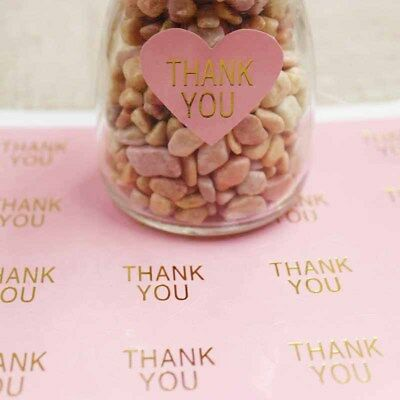 Stickers - Thank You with Gold Embellishment -PINK HEART Set of 50 - 3.2cm x 3cm