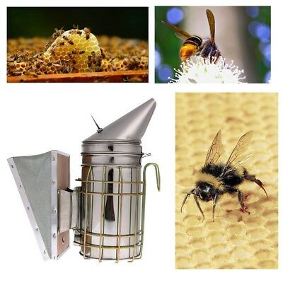 Stainless Steel Bee Hive Smoker Large Beekeeping Equipment W/ Heat Shield Board