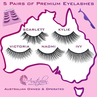 AU Stock 5 Pairs 3D Natural Thick Long Makeup Fake Eyelashes False Eye Lashes