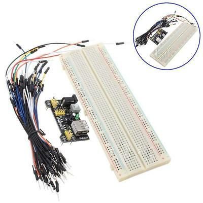 MB-102 830 Point Solderless PCB Breadboard+65pc Jump Cable Wires+Power Supply TH