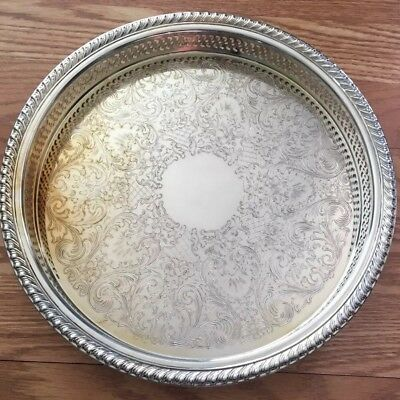 """INTERNATIONAL SILVER CO 12"""" Vintage Round  Serving Tray in box SILVER PLATED"""
