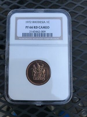 Rhodesia 1972 ONE CENT PROOF. NGC PF66 RED. POP 2 None Higher