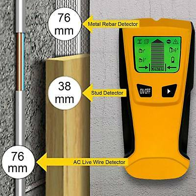 3in1 Multi Detector WOOD Stud Center Finder Metal AC Live Cable Wire Scanner UK
