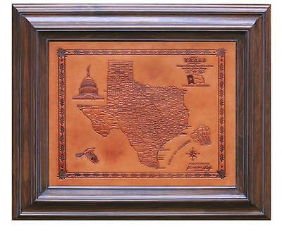 The Original Texas Handmade Leather Map in Solid Wood Frame **FREE SHIPPING**