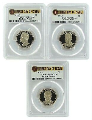 2016 S Presidential Dollar Three Coin Set PCGS PR69 Ultra Cameo - 1st Day Issue