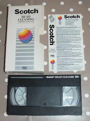 Scotch VHS Video Cassette Head Cleaning Tape