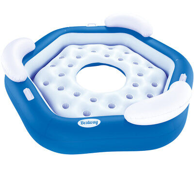 Bestway Inflatable Island Round Swimming Pool Seat Raft 3 Persons Chair Air Bed