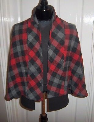 True Vintage 1940's Tartan Wool Cape & Matching Bodice Poor Condition