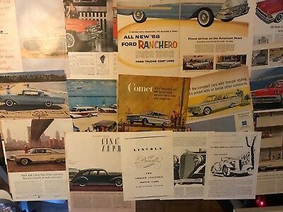E Ford, Mercury,& Lincoln Old Car Ads 1936-50's Lot of 30