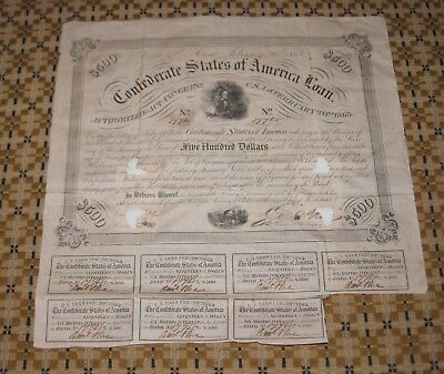 Civil War CSA Confederate States of America Loan $500 Certificate Bond