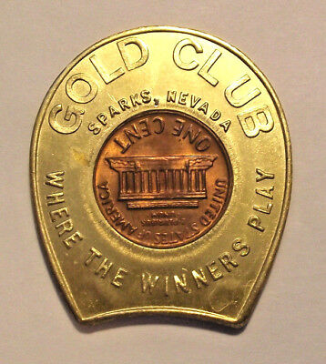 NEVADA TOKEN - GOLD CLUB, SPARKS, NEVADA (LOT D698) GOOD LUCK HORSESHOE w/COIN