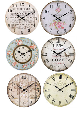 Vintage Shabby Chic Wall Clock Kitchen, Roses, Live, London, Map