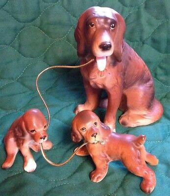 VINTAGE LIPPER & MANN 50's CHAINED Retriever DOG FIGURINE MOTHER PUPPIES JAPAN