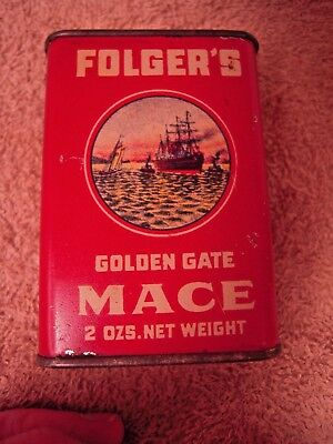 Folger's Golden Gate Mace 2ozs. Net weight Tin Can Sailing Ship Graphics