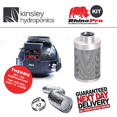 "6"" / 150mm Rhino Thermostatic Fan & Rhino Pro Carbon Filter Ducting Hydroponics"