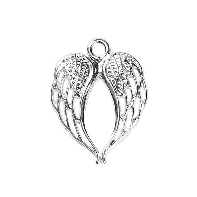 10 20 or 50 Silver Plated 22mm Angel Wings Wing Charm Pendant (50485)