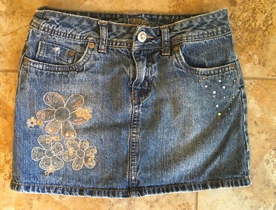 Justice Size 10 Regular Short Jean Skirt W Silver Flowers & Sparkles Euc