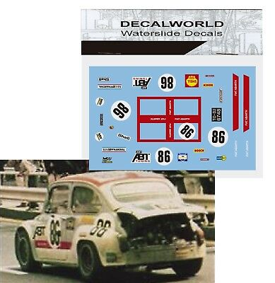 Waterslide Decals Fiat Abarth 1000 Tcr 1970 #86 1/18 1/24 1/32 1/43  Calcas
