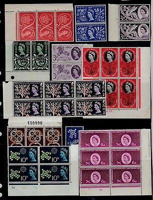 GB 1950s 60s Commem STAMPS Multipuls INC CYL BLOCKS Unmounted MINT Ref:QK541a