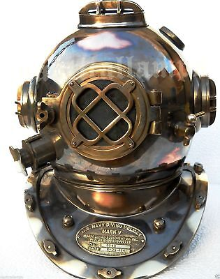 Mark V Divers Helmet Antique Scuba SCA U.S Navy Deep Sea Marine Full Size--
