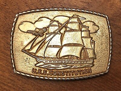 U.S.S. Constitution US Navy Ship Gold Tone Belt Buckle ~ Old Ironsides~Frigate