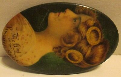 The Girl of the Pingree Shoe Celluloid Pocket Mirror Early 1900s