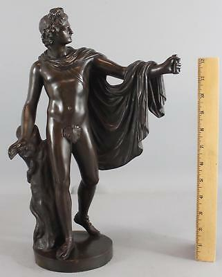 Antique 19thC Ron Liod Sauvage, Classical Greek Apollo Nude Man Bronze Sculpture