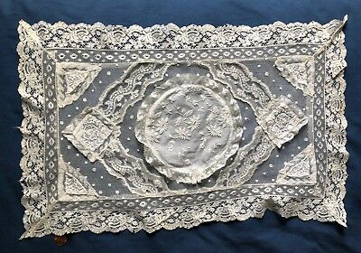 Unusual novelty dimensional Vintage Normandy lace centerpiece