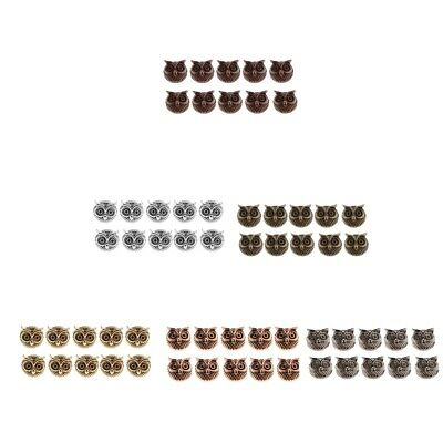 10x Vintage 11mm Owl Spacer Beads Charm Fit European Bracelet Jewelry Making