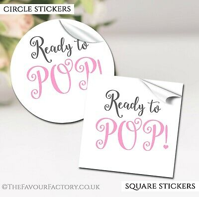 GLOSSY Ready To Pop Pink Baby Shower Party Favours STICKERS labels