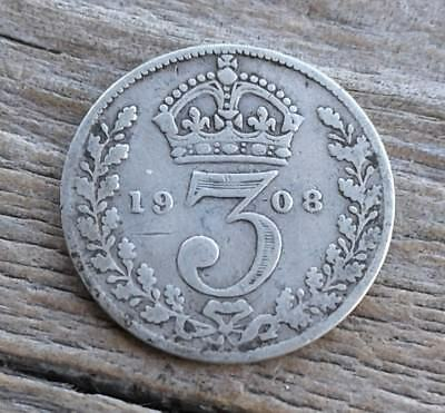 1908 Great Britain 3 Pence Silver Coin