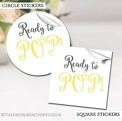 GLOSSY Ready To Pop Yellow Baby Shower Party Favours STICKERS labels