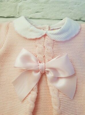 Baby Girls Spanish style Knitted Pink Bow Dress